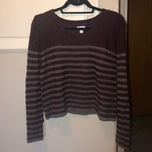 BP Maroon and Grey Fuzzy Striped Sweater